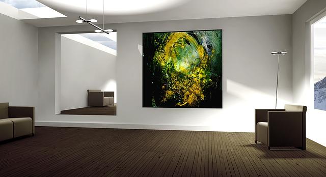 místnost, obraz, křesílka